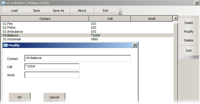 Simple contact editor for the Philips E160(E168) cellphone [vCard format]. Quick loading. Easy editing.